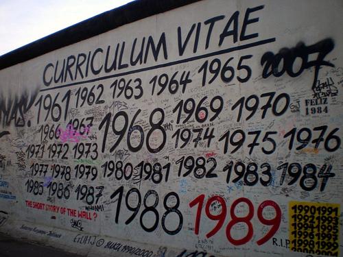 Un muro con tante date scritte sopra
